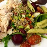 Salad bar with roasted turkey