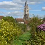 view of St Pere church from the garden