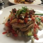 Rock Cornish Game hen with blue cheese and sriracha