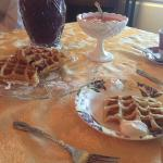 Breakfast Fresh Grape Juice & Locally sourced homemade waffles