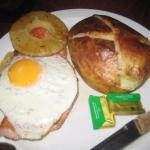 Ham, egg pineapple and bun