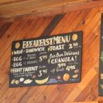 Breakfast menu at the Herring Choker