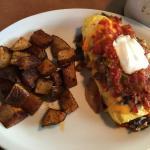 cowboy brisket omelet - toast held