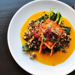 Salmon with Mandarin Aji Amarillo Sauce with Crunchy Kale and Quinoa