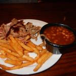 Pulled pork, fries and baked beans