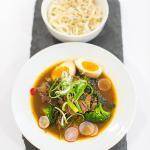 Marinated Flank Steak Ramen (Soy Egg, Soba Noodles, Broccoli, Oxtail Broth)