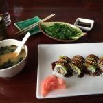 Miso soup, seaweed salad and dragon roll