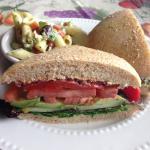 Vegetarian Sandwich with pasta salad