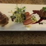 Appetizer - Duck confit croquette, Smoked duck breast, mini grilled cheese with braised duck leg
