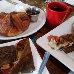 Savory and sweet crepes with a side of croissant!