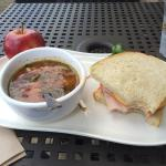 Vegetable soup and turkey sandwich.