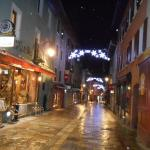 Bourg's main street, 10 mins walk from hotel