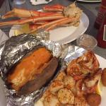 Broiled Scallops and Shrimp... Sweet Baked Potato and Crab legs