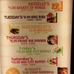 One 31 Restaurant & Bar daily specials