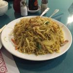 Singapore fried vermicelli with shrimps and pork