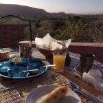 View of delicious breakfast with beautiful view