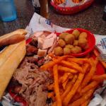 3 meat platter with sweet potato fries and okra.