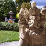 Garden statue facing street view