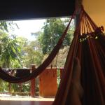 Relaxing in the roof terrace hammocks surrounded by the jungle