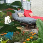 Sunlounger beanbags in courtyard