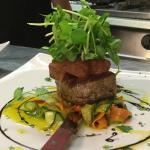 Fillet steak finished with wild boar & garlic mushroom pate