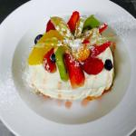 Fresh fruit pavlova with homemade merengue and Chantilly cream on our dessert's board! Suitable