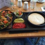 Vegetable Fajitas with guacamole, salsa and a side salad.