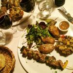 Lamb kebab, with potatoes, salad, and local veg.