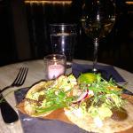 Grasshopper Soft Tacos, White Wine, New York Water