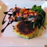 Bourbon salmon, goat cheese potato cake & spinach