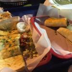 Chicken quesadilla and beef burrito