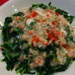 snow peas leaves served with orange caviar crabmeat sauce