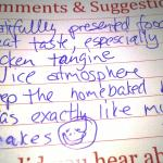 sample comment card received