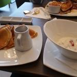 Gorgeous pancakes & fresh fuit in the yogurt