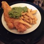 Fresh cooked fish and chips delicious
