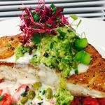 Red Beet Risotto with Grilled Mahi