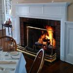 Cozy dining by the fire