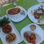 Barbecue seitan sandwich, gumbo (rice has been mixed in), veggie spaghetti, tofu nuggets