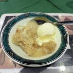 An apple crumble option for dessert