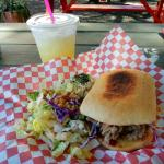 Pork sandwich and pina lemonaid