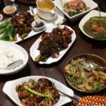 We ordered kare-kare, pork binagoongnan, laing, a fern salad. One order of each good enough for