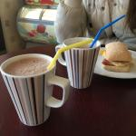 Hot chocolate and filled bread roll.. Nice!