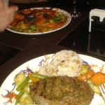 Surf and turf on far plate, steak on closer plate. Veggies were perfect, meat was amazing!