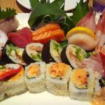 Sashimi platter and Sushi roll