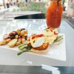 East Coast, Maine Lump Crab Cakes, Coped Asparagus, Sun-dried Tomato & Poached Eggs.