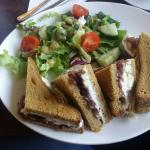 Gluten free goats cheese and red onion chuckny with gluten free coffee & walnut cake and strawbe