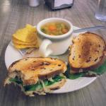Walnut cake, chili, soup and sandwich