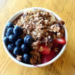Our delish acai bowl with house-made granola, strawberries, blueberries and banana