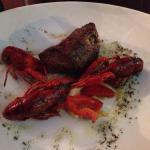 Biefstuk(zonder jus/saus) met rivierkreeften