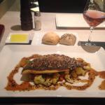 Sea bream on a bed of teppanyaki vegetables/ginger sauce. Toledo oil for bread dipping. Exquisit